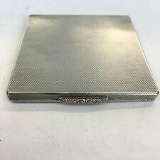 Vintage Engine Turned Design Solid Silver Hallmarked Compact 1948 W H Manton