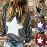 Women Long Sleeve Star Print Sweater Pullover Blouse Casual T Shirt Jumper Tops