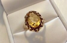 Beautiful Ladies Vintage Heavy Solid 9 Carat Gold Citrine Solitaire Ring  Size N