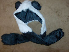 Faux FUR HOOD PANDA ANIMAL SNOOD HATS WITH MITTENS GLOVES SCARF