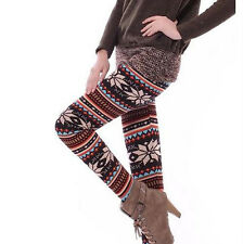 Hot Womens Winter Soft Warm Knitted Snowflakes Deer Leggings Skinny Pants