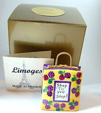 Limoges Box - Shop 'till you Drop Shopping Bag Yellow and Purple Floral