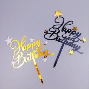 Double-layer Acrylic Star Happy Birthday Cake Topper Baking Decor Party SuppBDA