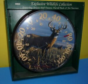 """New Acu-rite Chaney James Hautman 12"""" In/Out Buck In Cornfield Thermometer"""