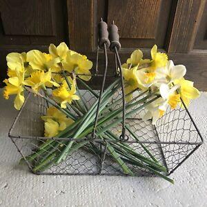 Vintage French Metal Wire Basket Market Farm Harvest Egg Wood Handle Rectangular