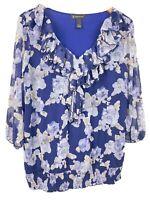INC Ruffle Neck Floral Blouse plus size 1X three quarter sheer sleeve Navy Blue