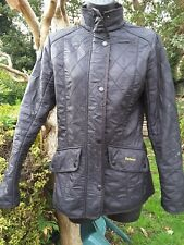 Ladies black barbour quilted jacket size 8~ fitted,fleece lined ☆flawed☆