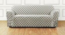 Buffalo Check One Piece Sofa size Slipcover TAN