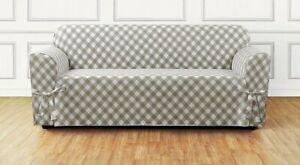 NEW Buffalo Check One Piece Sofa size Slipcover TAN