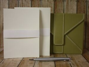 Bath Body Works Stationery Gift Box Green 20 Cards Envelopes Ivory Pen Black Ink