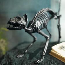 Life-size Black Skeleton Cat Durable Plastic Hinged Jaw Halloween Outdoor Decor