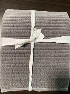 NEW Pottery Barn Velvet Channel King Size Flagstone Gray Pillow Sham NWT Soft