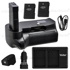 Battery Grip for Nikon D5100 D5200 D5300 + 2x EN-EL14 Battery + Dual Charger Kit