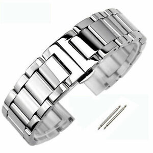 Solid Stainless Steel Watch Band Butterfly Clasp Replacement Bracelet Strap