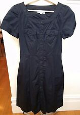 VERONIKA MAINE Black Short Sleeve Stretch Cotton Button Front Shirt Work Dress