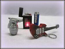4 VTG. WORKING LIGHTERS, GUITAR, BAD TO THE BONE , GUN GRENADE & BLUE CYLINDER
