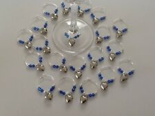 20 Heart Wine Glass Charms With Blue Crystals. Favours. Wedding. Party.