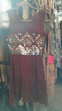 NWT LOVE POINT BURGUNDY SHORT PROM FORMAL DRESS SZ Small/xs SEQUIN BODICE
