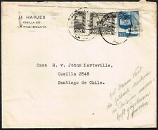 051 BOLIVIA TO CHILE COVER 1941 BISECTED STAMP LA PAZ - SANTIAGO