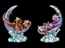 Drachen Figuren auf Mond Set - Fantasy Monddrachen Dekostatue