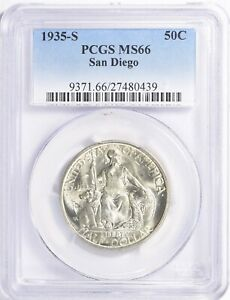 1935-S SAN DIEGO EXPO SILVER COMMEMORATIVE 50C PCGS MS66
