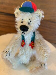 "Deb Canham OKE DOKEY #305 Of 1500 LE 3"" Jointed Miniature Mohair Bear MWT/Box"