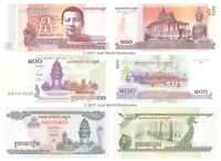 Cambodia 100 Riels 1995, 2001 & 2014 (2015) Set of 3 Banknotes 3 PCS UNC