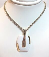 "Whilte Metal Pendant - 18"" Long Gold Plated Costume Jewelry Necklace w/ Painted"
