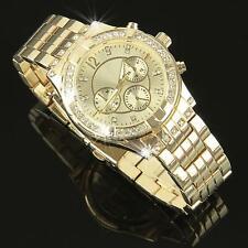 Damenuhr Gold Strass Kristallen Damen Armbanduhr Watch UVP: 120€ U1225L