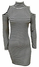 Long Sleeve Stretch, Bodycon Striped Dresses for Women