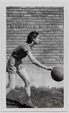 Old Photo Teenage Girl Wearing Basketball Uniform Dribbles Ball 1930S