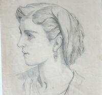 PORTRAIT DE FEMME Dessin ORIGINAL ANCIEN 19e Siècle