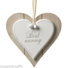 Best Nanny - Shabby Chic Wooden Hanging Heart Plaque Sign White Nan Heaven Sends