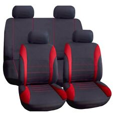 Universal Car Seat Covers Set COMPLETO ROSSO/NERO Lavabile AIRBAG si adatta ALFA remeo