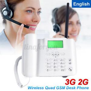 3G/2G Fixed Wireless GSM Desk Phone SIM Card Mobile Desktop Telephone Home  ~