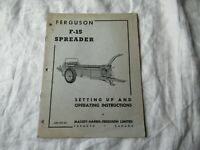 Massey Ferguson F-15 manure spreader operator's set up and instruction manual