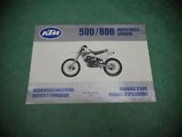 HANDBUCH KTM 500 MX 600 GS 1990 (int.b*) MAINTANANCE MANUAL BEDIENUNGSANLEITUNG