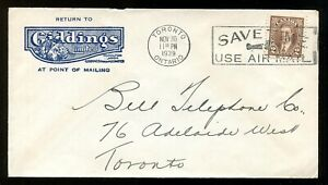 p1727 - TORONTO 1939 Slogan on Giddings Co ILLUSTRATED Advertising Cover ✉