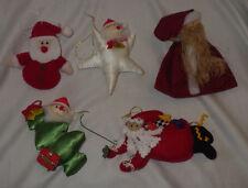 """Ornaments Santa Claus Cloth Ornaments Lot of 5 Ornament Decoration 4"""" - 5"""" Tall"""