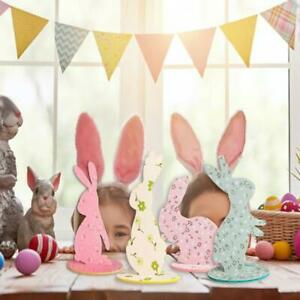 4Pcs Happy Easter Bunny Table Centerpiece Felt DIY Spring Party Home Decorations
