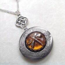 Outlander Dragonfly Locket, Silver Dragonfly in Amber Locket Necklace ,