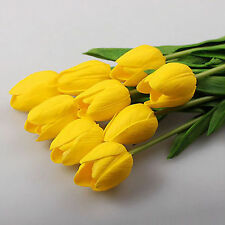 1/10x Tulip Artificial Flower Latex Real Touch Bridal Wedding Bouquet Home Decor Yellow 10 Pcs