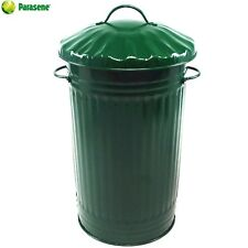 45L METAL GREEN DUSTBIN, COUNTRY COTTAGE GREEN VINTAGE BIN, GREEN HOUSE GARDEN