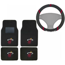 New NBA Miami Heat Car Truck Carpet Floor Mats & Steering Wheel Cover Set