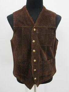 P3926 VTG Buckboard Men's Sherpa Line Western Suede Leather Vest Size 40