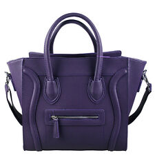 Women Designer Celebrity Leather Smile Tote Bag Shoulder Satchel Handbag Purple