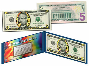 $5 GOLD HOLOGRAM Diamond Crackle Edition Collectible Legal Tender US $5 Bill