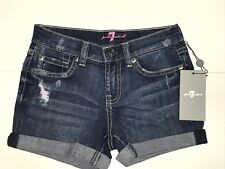 7 For All Mankind New Girls MID ROLL SHORTS w/ PINK STITCH Sz: 14 RTL: $69 Q453