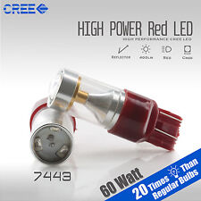 2X 400 Lumens 7443 60W CREE LED Red Projector Brake Tail Stop Lights Bulbs