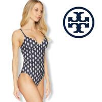 NWT Tory Burch Women Swimwear Swim suit One Piece Double Diamond Navy Blue M